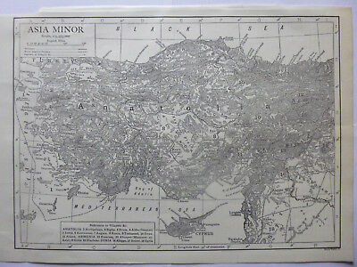 Vintage Map of Asia Minor 1926 - B/W Map - Excellent Condition - Great to Frame