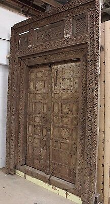 Antique Carved Front  Door and Frame from Swat Valley, Pakistan