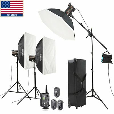 1800w 3x Godox QT600 High Speed Studio Strobe Flash Light + Trigger+Case+Softbox