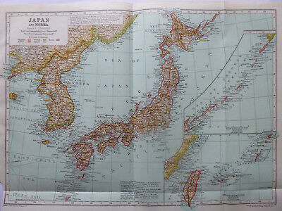 Vintage Map of Japan and  Korea 1926 - Coloured Map - Excellent - Great to Frame