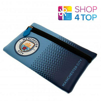 Manchester City Fc Flat Pencil Case Blue Official Football Soccer Club Team New