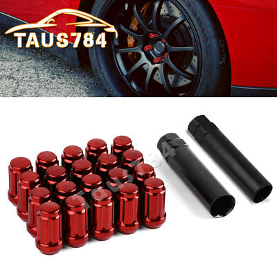 20 Red 12x1.5 Closed End 6 Spline Racing Tuner Lug Nuts for Ford Fusion + 2 Keys