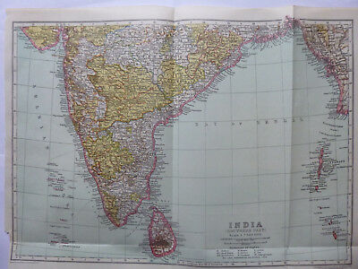 Vintage Map of South India 1926 - Coloured Excellent Condition - Great to Frame