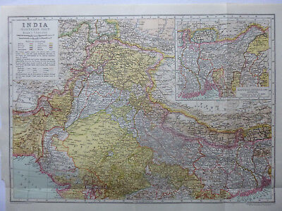 Vintage Map of North India 1926 - Coloured - Excellent Cond. - Great to Frame