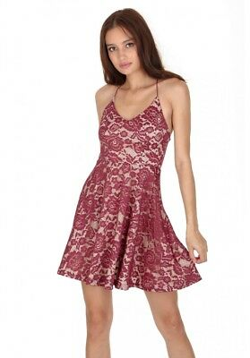 4a559148bd AX Paris Womens Floral Lace Mini Skater Dress Strappy V Neck Sleeveless  Party