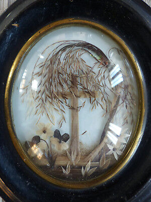 """SUPERB ANTIQUE FRENCH SENTIMENTAL MOURNING HAIR ART w. TOMB c.1860's .6 9/10"""" n2"""
