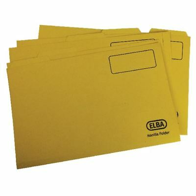 Elba Foolscap Yellow Midweight Tabbed Folder Pack of 100 100090237 [GX20619]