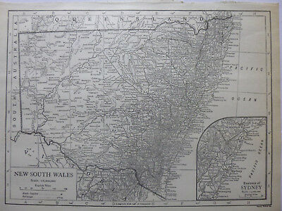 Vintage Map of New South Wales 1926 - B/W - Excellent Cond. - Great to Frame