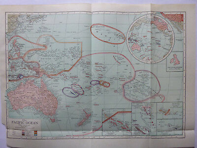 Vintage Map of Pacific Ocean 1926 - Coloured - Excellent Cond. - Great to Frame
