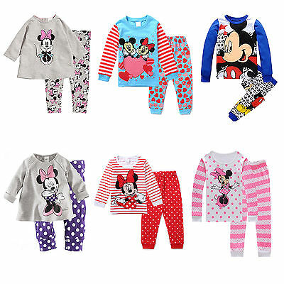 Kids Baby Girls Mickey Minnie Mouse Sleepwear Outfits Pyjamas Pjs Age1 - 8 Yrs