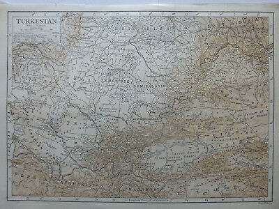 Vintage Map of Turkestan 1926 - Coloured - Excellent Condition - Great to Frame