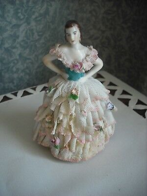 VINTAGE DRESDEN LADY FIGURINE  -  TO BE SOLD AS FOUND - SEE DETAIL AND PHOTO`s