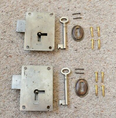 2 Antique Style Furniture Cabinet Cupboard Locks with Key & Escutcheon