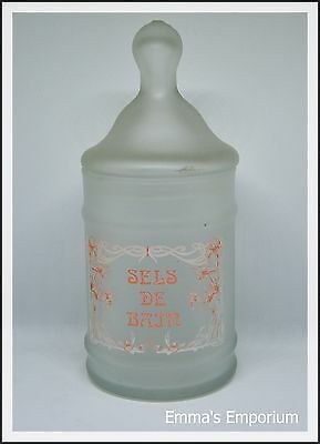 French Sels De Bain Frosted Glass Vanity Jar with Lid - Bathroom/Dressing Table