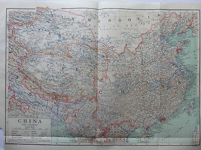 Vintage Map of China 1926 - Coloured - Excellent Condition - Great to Frame