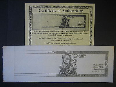 Italy 100 Lire 1794 First Ever Note c/w Certificate Uncirculated. XXXX Rare!