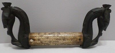 Antique Scrimshaw Bone with Hand Carved Wood Ends