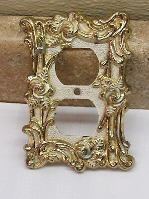 Vintage American Tack Amer double plug Plate Cover Floral Gold Tone Roses VGC