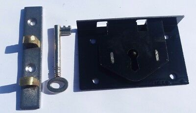 """Chest lid lock half mortice with key 2 1/2"""" x 3 1/2""""old stock, great condition"""