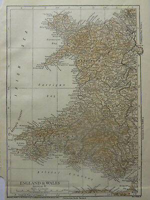 Vintage Map of Wales 1926 - Coloured - Excellent Condition - Great to Frame