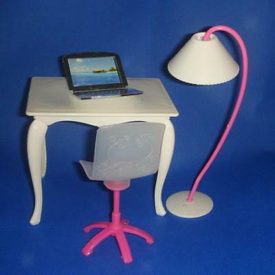 Desk Chair Laptop Lamp Set Office Room Furniture for Barbie Dolls Office