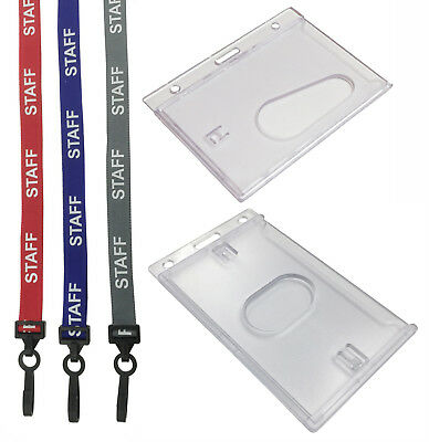 Staff Neck Strap Lanyard (Plastic Clip) & Enclosed ID Card Holder For ID Cards