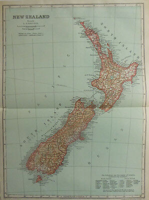 Vintage Map of New Zealand 1926 - Coloured Map Excellent Cond. - Great to Frame