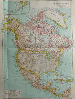 Vintage Map of North America 1926 - Coloured - Excellent Cond. - Great to Frame