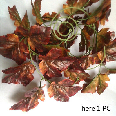 5pc artificial grape ivy foliage garland 9.2' long Red Brown fall silk leaves