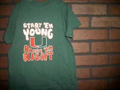 Kids Children T-Shirt MIAMI HURRICANES START 'EM YOUNG YOUTH 5 / 6 GREEN (T681)