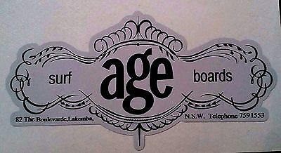 AGE SURFBOARDS 1970s Surfboard Manufacturer NSW Sticker Decal LONGBOARD Surfing
