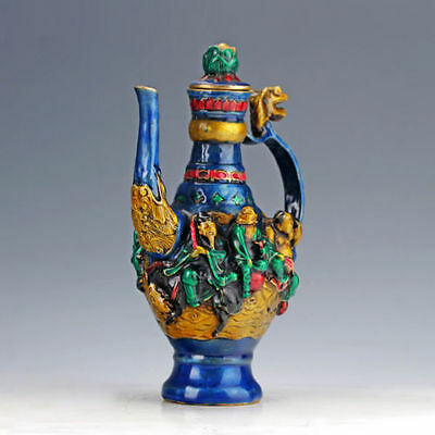 Chinese Cloisonne Hand Carved The Eight Immortals Pattern Teapot W Daqing Mark