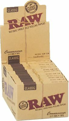 Raw Classic Connoisseur 1 1/4 Slim With Tips Rolling Paper Full Box 24 Packs