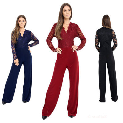 UK Womens Evening Party Playsuit Ladies Lace Long Jumpsuit Plus Size UK 16 - 24