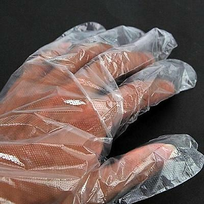 100 x Disposable Gloves Plastic Food Safe Cleaning Gloves Home Kitchen Cook  A◁