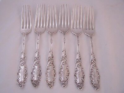 6 Sterling  Gorham Luxembourg Dinner Forks With Monogram  6 3/4""