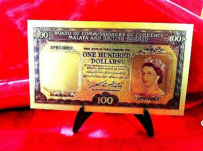 $100 LARGE 24KTGOLD Malay / British Borneo Gold Colored BANKNOTE 24K note +STAND
