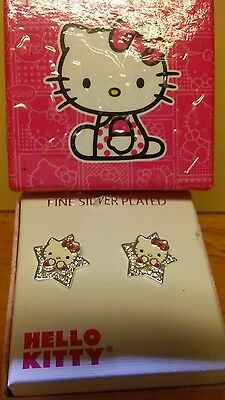 Hello Kitty Fine Silver-Plated Earrings Star New in Box Jewelry