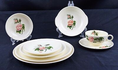 Vintage Universal Moss Rose (no trim) Ballerina shape 8 pc place & Universal Potteries China u0026 Dinnerware Pottery u0026 China Pottery ...