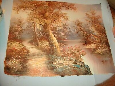 "Old Vtg OIL PAINTING on CANVAS ""OLD HOUSE CREEK SCENE SIGNED/NUMBERED I.CAFIERI"