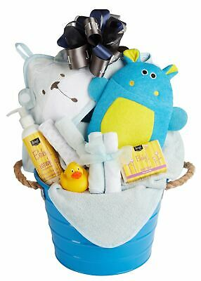 Baby Boy Bath Gift Basket with Hooded Towel, Washcloths, Organic Soap & Lotion