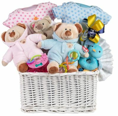Twins Baby Gift Basket with Teddies, Rompers, Rattles, Blankets and More