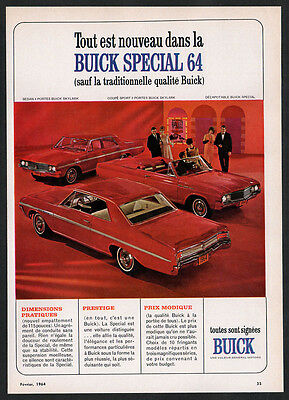 1964 BUICK Skylark Vintage Original Print AD 3 cars red photo convertible coupe