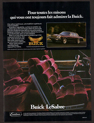 1985 BUICK LeSabre Vintage Original Print AD - 4-door sedan purple car photo