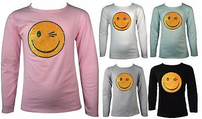 Girls Shiny Emoji Smiley Faces Emoticons Sequins Long Sleeve Top 7-13 Yrs Sequin