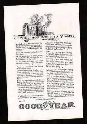 1922 GOODYEAR cord tires vintage Original Print AD A living monument to quality