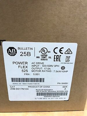 2017 New Factory Sealed Allen Bradley 25B-D017N104 Ser A Powerflex 525 Ac Drive
