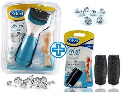 Scholl Velvet Smooth Diamond Crystals Pedi Foot File Hard Skin Remover Free P&P