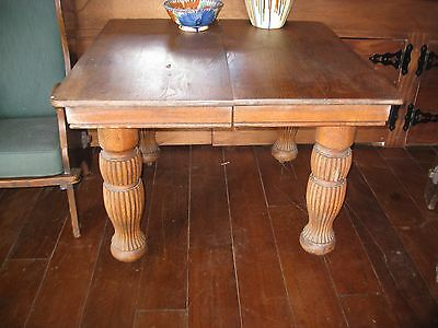 Large Antique Oak Table with Pedestal Legs