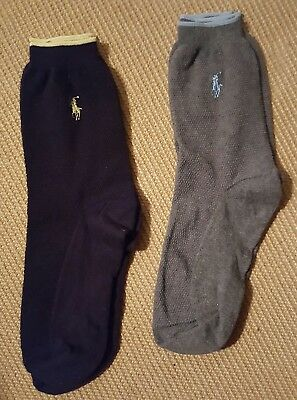 Mens Ralph Lauren Polo Dress Sock Blue Grey Fits 9-11 EUC Lot 2